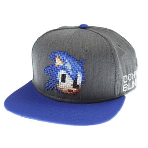 bioWorld Sonic The Hedgehog Sega Pixel Face Black Snapback Hat
