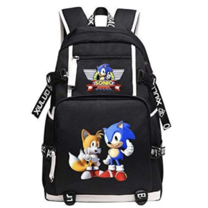 Qushy Sonic Adult Backpack School Bag Black Large Capacity Bookbag Daypack