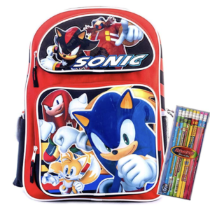 Sonic Backpack Blue Sonic the Hedgehog Book Bag Travel Fun Daypack include a pack of pencils