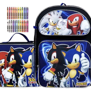 "Sonic the Hedgehog Team 16"" Large Backpack and Lunch Bag Set Plus Gift"